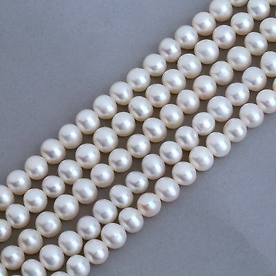 5-5.5mm Ivory White Near Round Freshwater Pearls Beads A