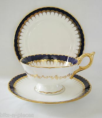COALPORT Antique English  TRIO SPEARPOINT COBALT & GOLD tea plate cup saucer