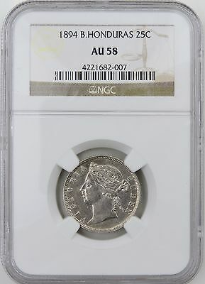 1894 BRITISH HONDURAS 25 CENTS. AU 58 by NGC 4221682-007