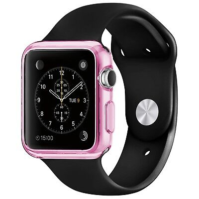 Coque Housse Pour Apple Watch 38mm Semi Rigide Gel Clear Frame Extra Fine Rose
