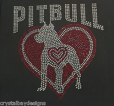 Pitbull Pit Bull Love Heart Dog Puppy Iron On Rhinestone Shirt Transfer 51-16