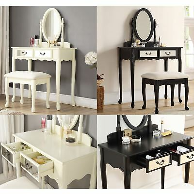 Mirrored Dresser Table Set Dressing Makeup Desk 2 Drawers & Padded Seat Stool