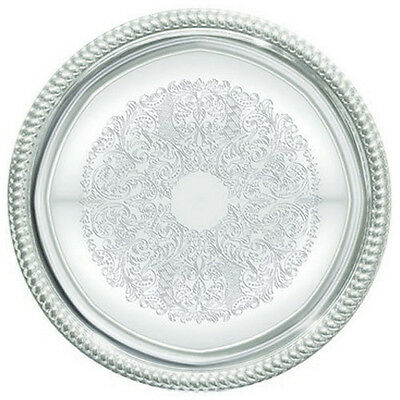Winco CMT-14, 14-Inch Diameter Chrome Plated Round Serving Tray with Engraved Ed