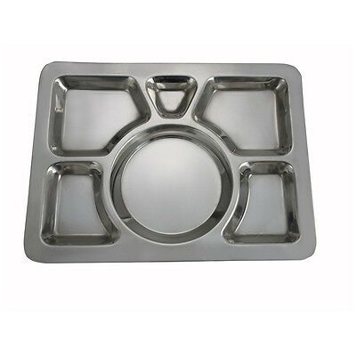 Winco SMT-1, 15.8x11.7x0.8-Inch Stainless Steel Mess Tray wit 6 Compartments, St