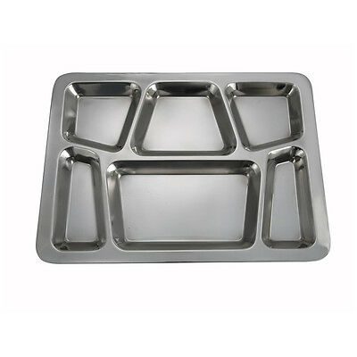 Winco SMT-2, 15.8x11.7x08-Inch Stainless Steel Mess Tray with 6 Compartments, St