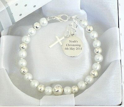 Baby Boy Girl Christening/First Holy Communion/Baptism Personalised Bracelet