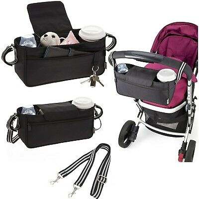 Polar Gear Pram Organiser with Shoulder Strap, Zipped Pocket, Cup Holders