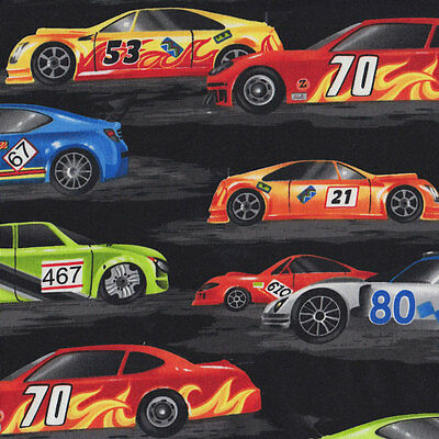 Racing Cars on Black Boys Mens Quilt Fabric FQ or Metre *New*
