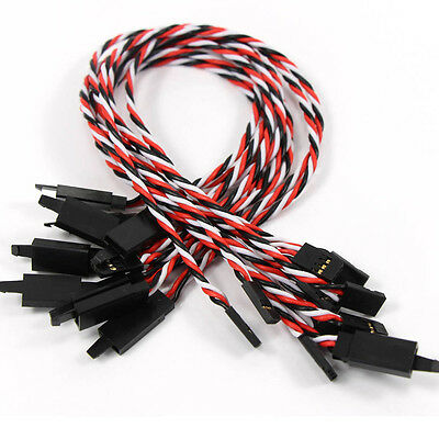 CHJX22 10pcs Servo Extension Lead Wire Cable For Futaba RC Car Plane 30cm NEW