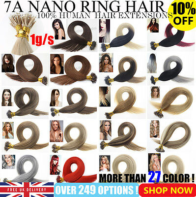 """Best 7A Grade 16""""-22"""" Nano Ring Tip Hair Extensions Straight Remy Human Hair UK"""