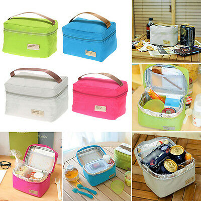 Portable Insulated Thermal Cooler Bento Lunch Box Tote Picnic Storage Holder Bag