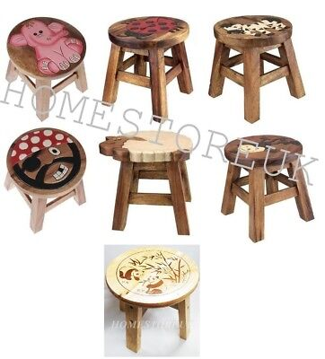 Kids Wooden Stool Small Step Seat Solid Brown Chair Hand Painted Animal Designs