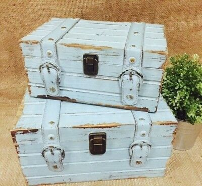 Wood/Wooden Blue Vintage Wedding/Wishing Well Personalised Box/Treasure/Chest