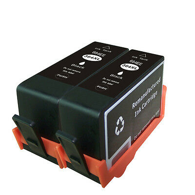 2 Non-OEM Replaces For HP 364 364XL Black Ink Cartridges