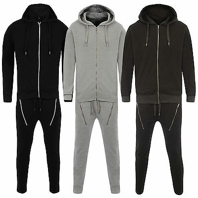 New Men Skinny Pants Drop Crotch Jogging Bottom and Top Heavy Pique Tracksuit