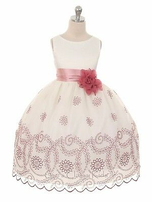 New Flower Girl Ivory Dress Wedding Pageant Party Formal Birthday Fancy Easter