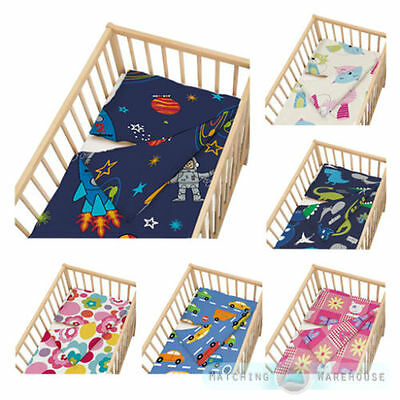 Childrens Cot Size Duvet Cover & Pillowcase Nursery Baby Bed Crib Bedding Kids