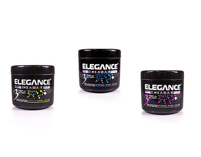 Elegance Triple Action Strong Hair Gel Silver, Pink or Blue Fragrance ALL SIZES