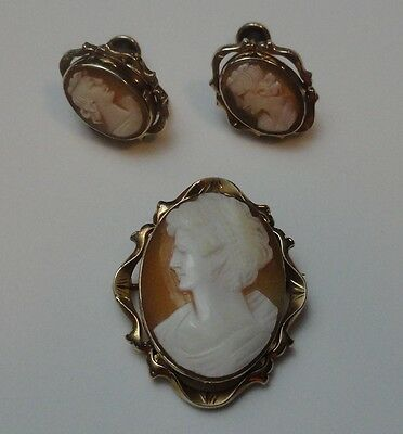 "Vintage MARVEL 1 1/4""  AUTHENTIC Carved CAMEO PIN / Pendant & Screwback EARRINGS"