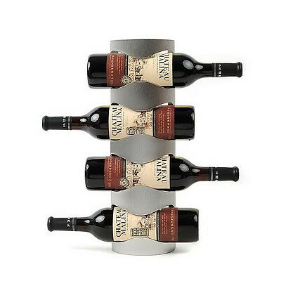 4 Bottle Stainless Steel Wine Rack Wall Mount Bar Decor Wine Bottle Holder M