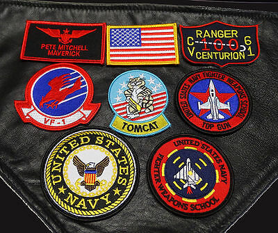 Top Gun Movie Maverick Pete Mitchell Tomcat Flight Jacket 8Pc Hook Patch