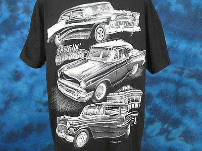 vintage 90s CRUISIN' CLASSICS HOT ROD 2-SIDED T-Shirt LARGE/XL muscle car rock