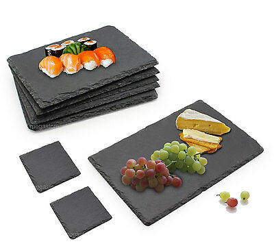 Set 6 Piece Slate Food/Salad/Cheese/Tapas Board Plate Party Dining FREE Coasters