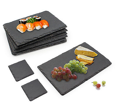 Set 6 Piece Slate Food/Salad/Cheese/Topaz Board Plate Party Dining FREE Coasters