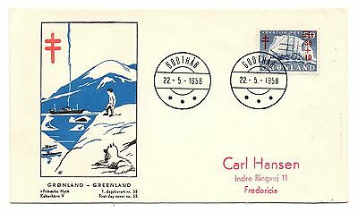 GREENLAND = 1958 Royal Tuberculoseis Relief Fund FDC.