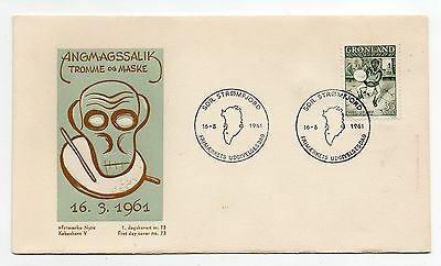 GREENLAND = 1961  Drum Dance FDC. SDR. STROMFJORD Special cancel.