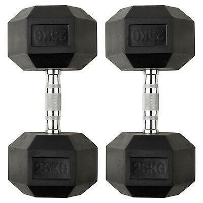 Mirafit 2x 25kg Rubber Dumbbell Hex Weights Gym Fitness/Workout/Weight Lifting
