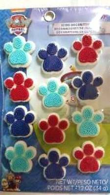 Paw Patrol Icing Decorations Paw Print 12 Ct Party Wilton