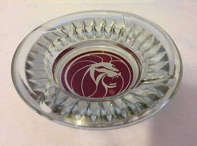 Mgm Grand Las Vegas Casino Hotel Lion Head Ashtray Clear Glass Collectible  Gc