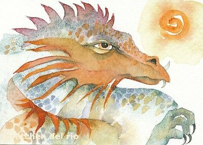 "ACEO Giclee PRINT watercolor 2.5"" x 3.5""  'KNUCKER' dragon mystical spirit"