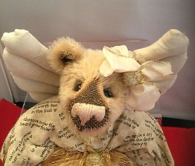 "Teddy Bear Artist Pat Fye ""Christmas Angel"" 12 inches  -  Shabby Chic"