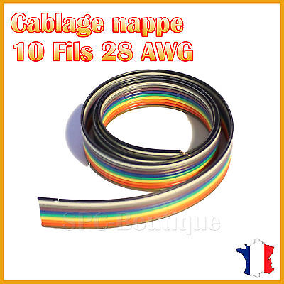 Nappe 28AWG 10 Fils Multi Couleur