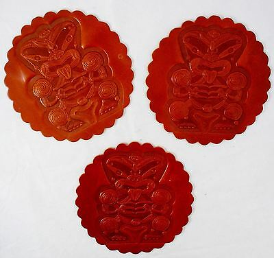 *Set of 3* TIKI Brown Leather Trivets or Coasters - Tribal Ethnic