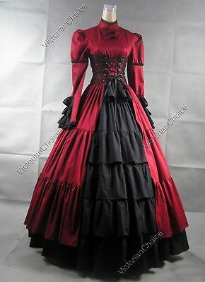 Victorian Gothic Corset Dress Gown Women Christmas Dickens Caroling Costume 068