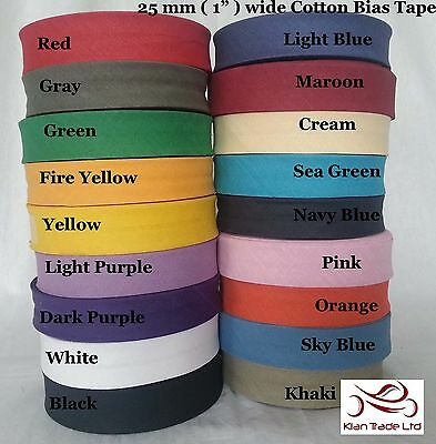 """1"""" (25MM) COTTON BIAS BINDING Sewing Stitching TAPE ROLL All LENGTH ALL COLOUR"""