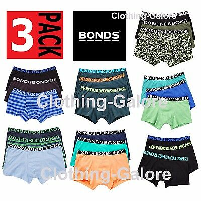 New Boys Bonds Underwear 3 Pack Trunks Boyleg Shorts Size 2 3 4 6 8 10 12 14 16