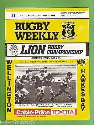 #ss. Rugby Union Program-  8Th September 1984, Wellington Vs  Hawkes Bay