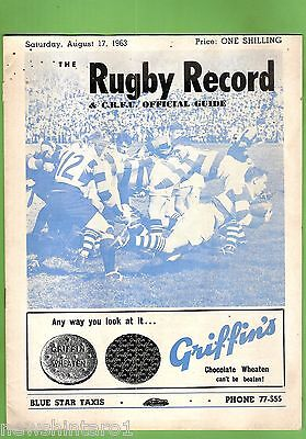 #ss. Rugby Union Program- 17Th August 1963, Auckland Vs Canterbury