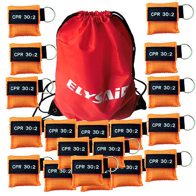 100 CPR MASK KEYCHAIN CPR FACE SHIELD POCKET AED TRAINING  CPR 30:2 Disposable