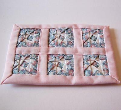 1 DOLLHOUSE Quilt Alice Lacy Pink w White Multi Star Med Miniature 1:12 gemjane