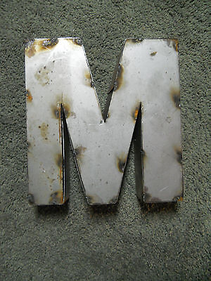 """9"""" RUSTIC Reclaimed Metal Industrial LETTER M 2"""" thick 3D TIN Sign ARCHITECTURAL"""