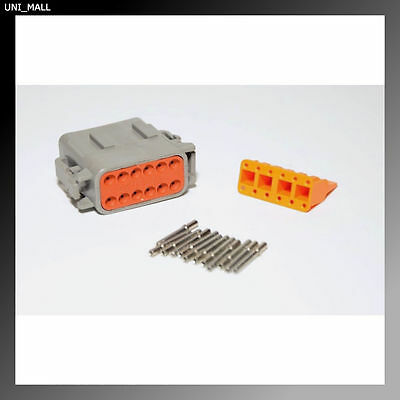 Deutsch DTM 12-Pin Genuine Female Connector Kit 20AWG Solid Contacts. From USA