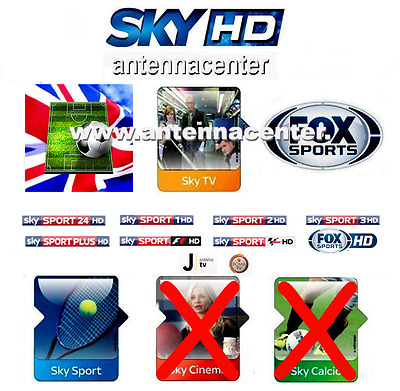 Scheda Tessera Sky HD Card Prepagata Sky TV+Sport+Fox Sports Scad. 1 Gen. 2018
