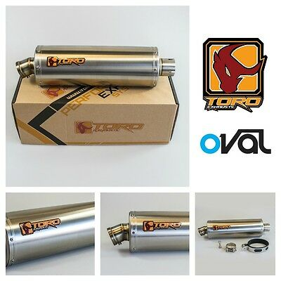 Toro T2 Brushed Stainless Steel Oval Motorcycle Exhaust Can Muffler