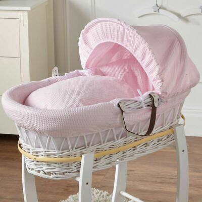 New Pink Waffle White Wicker Deluxe Padded Moses Basket