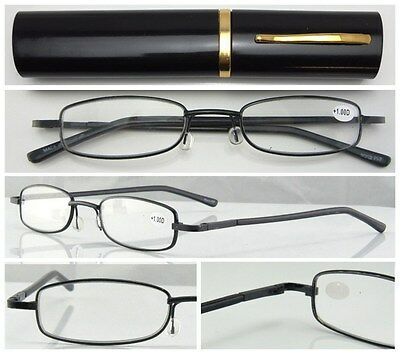 L252 Metal Frame Slim Reading Glasses/Spring Hinges+Aluminum Alloy Pen Tube Case